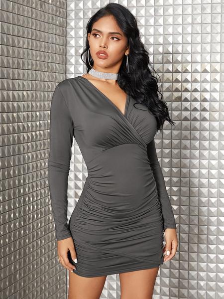YOINS Wrap Design Deep V Neck Long Sleeves Ruched Dress