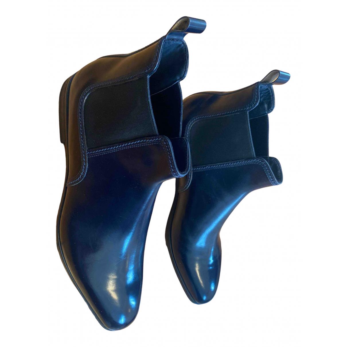Non Signe / Unsigned \N Stiefel in  Blau Leder