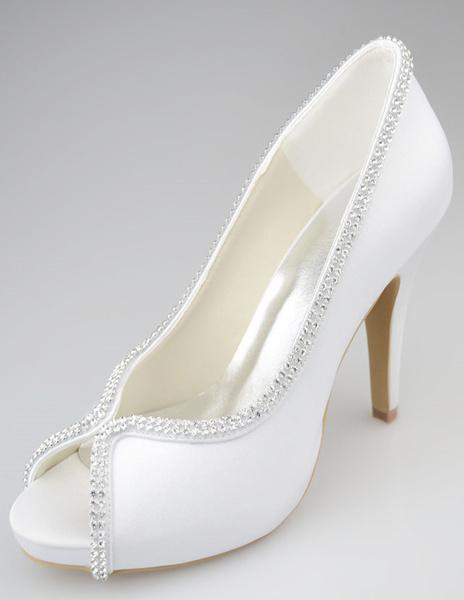 Milanoo Zapatos de novia de seda y saten Zapatos de Fiesta de tacon de stiletto Zapatos blanco  Zapatos de boda de punter Peep Toe 10cm 1.5cm