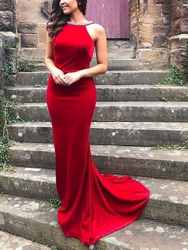 Ericdress Straps Mermaid Beading Backless Prom Dress