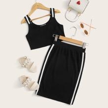 Girls Striped Strap Tank Top & Skirt Set