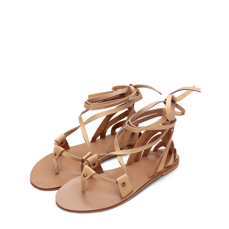 Yoins Apricot Leather Look Lace-up Strappy Flat Sandals