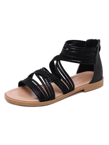 Milanoo Sandalias romanas negras Zapatos de mujer planos de punta abierta de cuero de PU