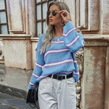 Striped Drop Shoulder Oversized Sweater
