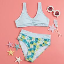 Bañador bikini con fruncido floral de rayas
