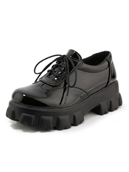 Milanoo Zapatos planos de cordones con punta redonda oxfords para mujer