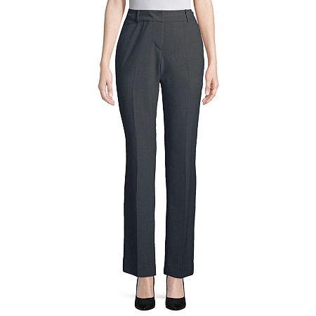 Worthington Womens Curvy Fit Perfect Trouser, 16 Petite , Gray