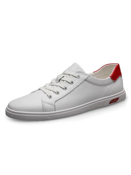 Milanoo Men\'s Sneakers Cowhide Round Toe Black Color Block Casual Shoes