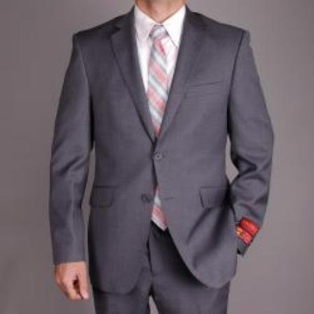 Mens Charcoal Gray Wool Slimfit 2button Suit