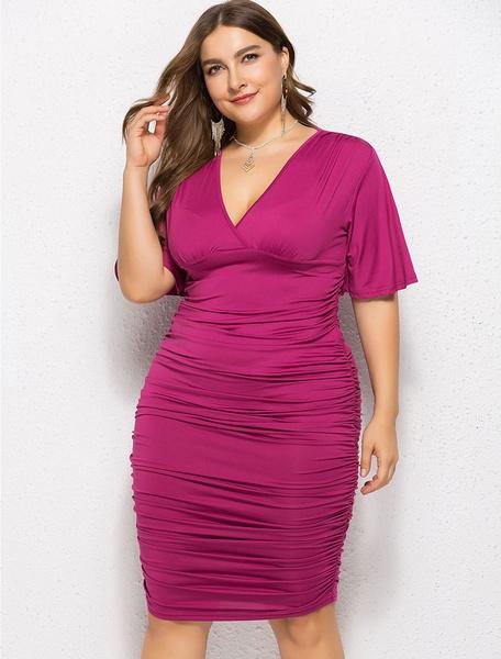 Milanoo Plus Size Bodycon Dress V Neck Flared Sleeve Ruched Midi Dress