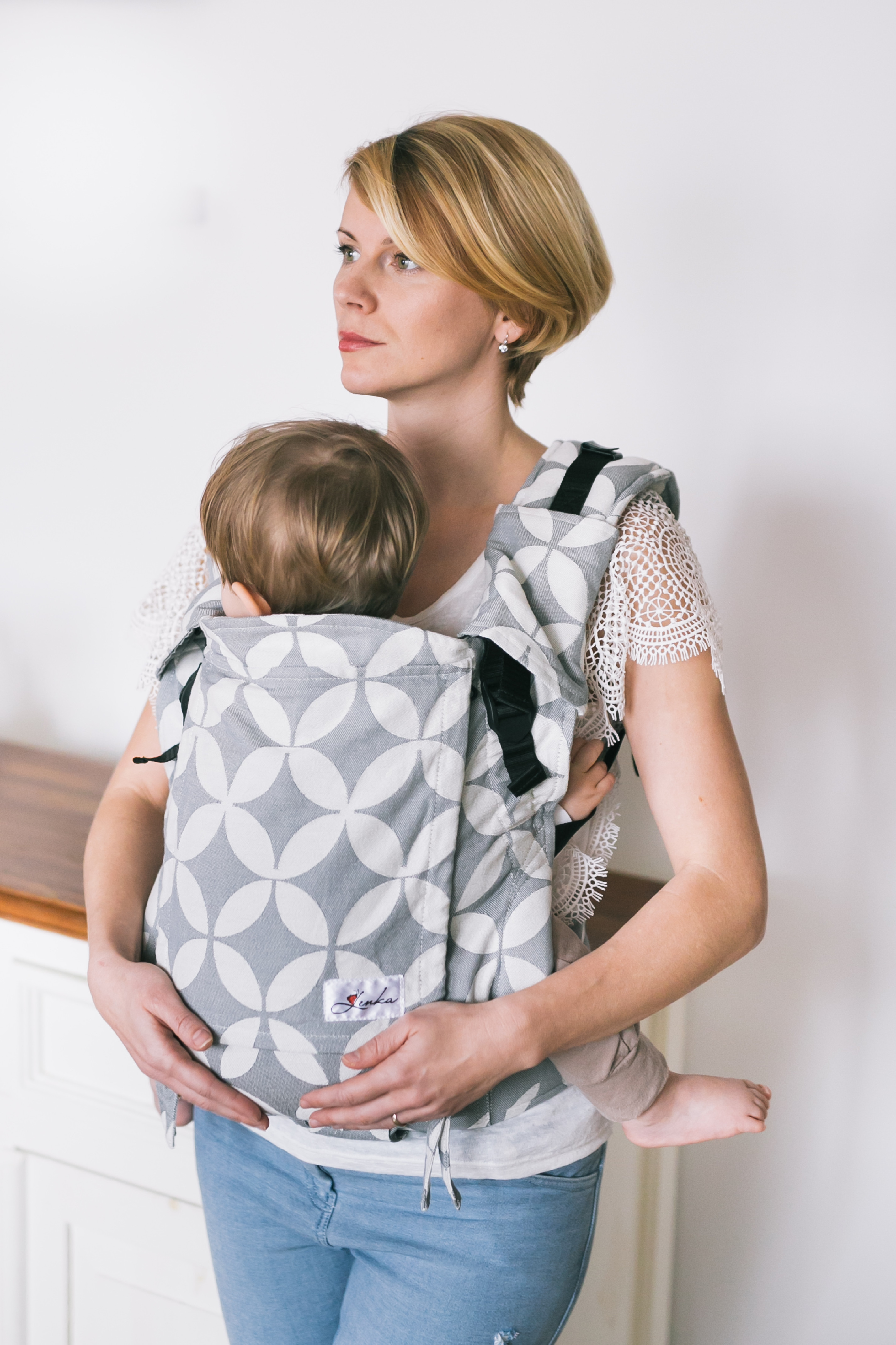 Baby carrier - Be Lenka 4ever Classic - Grey Diamond wide with the possibility of crossing