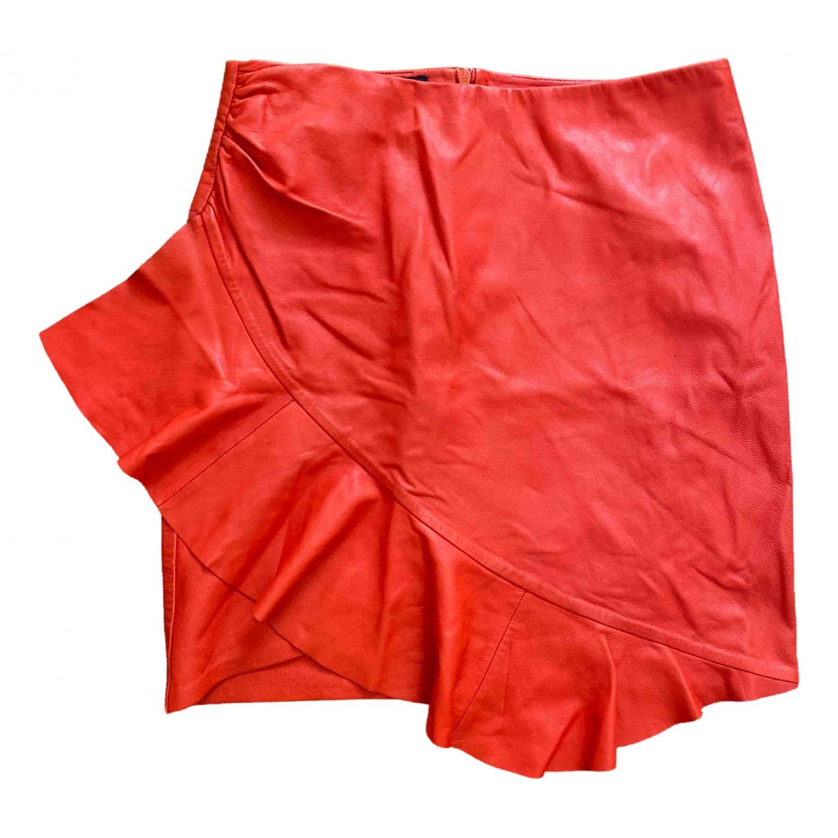 Designers Remix - Jupe   pour femme en cuir - rouge