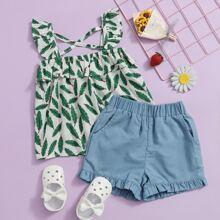 Toddler Girls Leaf Print Ruffle Top With Shorts
