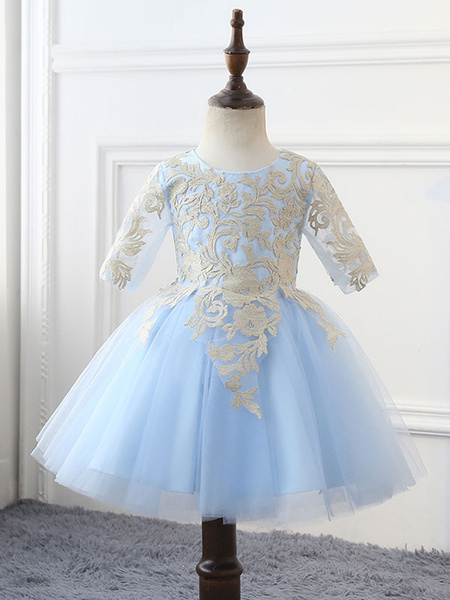 Milanoo Flower Girl Dresses Jewel Neck Tulle Half Sleeves Knee Length Princess Silhouette Lace Kids Social Party Dresses