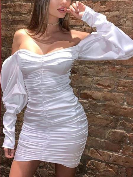 Milanoo Vestidos ajustados fruncidos Manga larga blanca Vestido tubo sexy