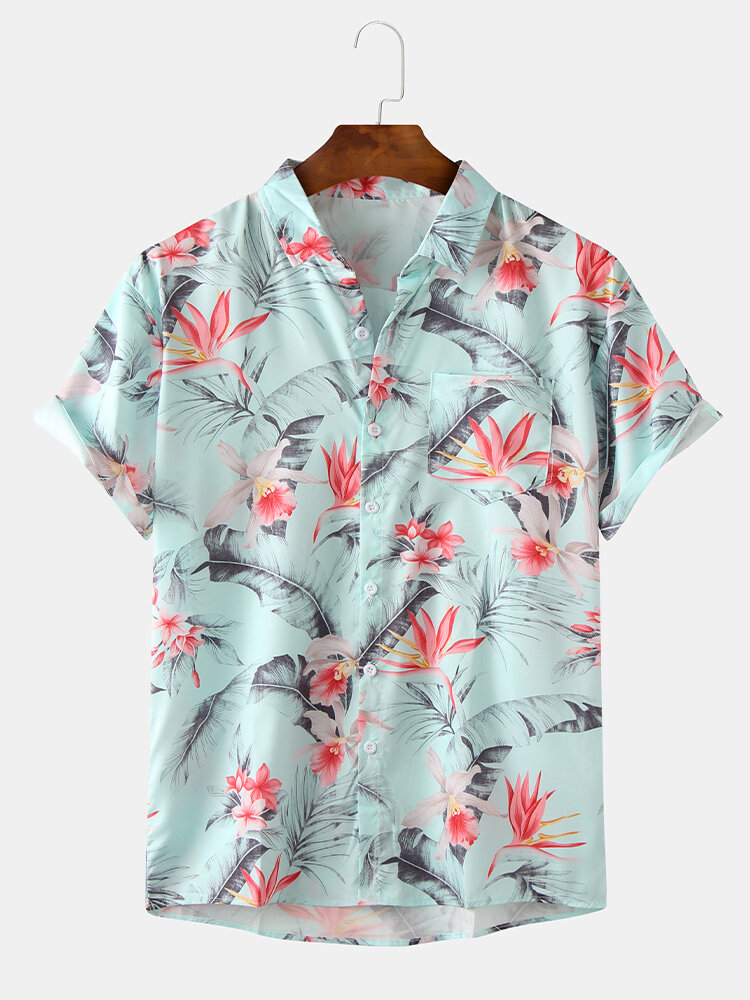 Mens Vintage Floral Oil Printting Casual Breathable Short Sleeve Shirts