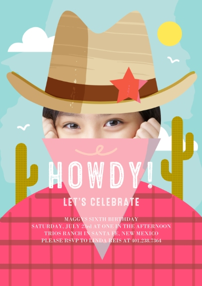 Kids Birthday Party Invites Flat Glossy Photo Paper Cards with Envelopes, 5x7, Card & Stationery -Howdy Celebration Invite