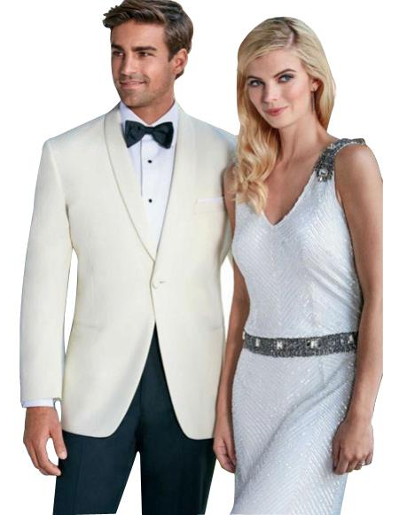 Mens One Button Tuxedo Shawl Lapel Ivory wedding Suit