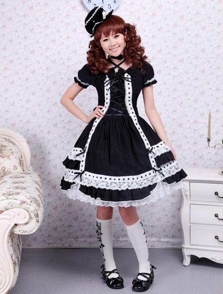 Milanoo Negro Lolita Enterizo Vestido Corta Mangas Encaje Trim Encaje