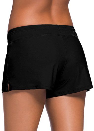 Rosewe Women Swim Short Solid Black Charmleaks Woman Board Swimwear Shorts - XL