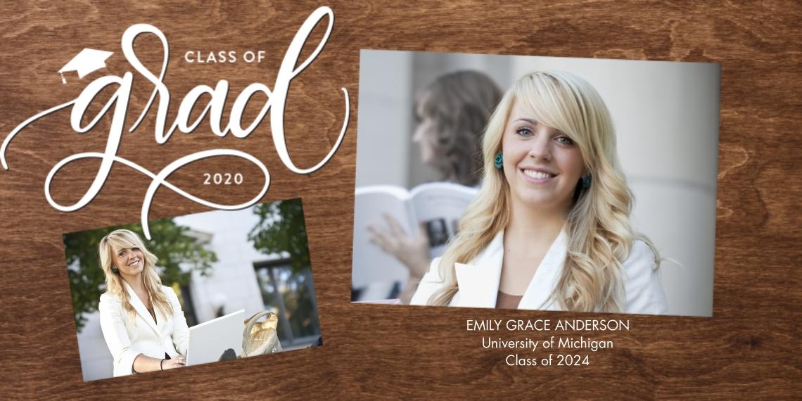 2020 Graduation Announcements 4x8 Flat Card Set, 85lb, Card & Stationery -Grad 2020 Script Simple by Tumbalina