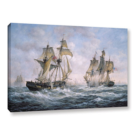 Brushstone Action Between U.S. Sloop-Of-War 'Wasp'And H.M. Brig-Of-War 'Frolic'; 1812 Gallery Wrapped Canvas Wall Art, One Size , Blue
