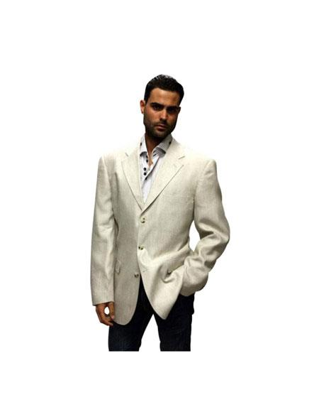 3 Buttons Linen Summer Suit Fabric Available in White or Black or Tan