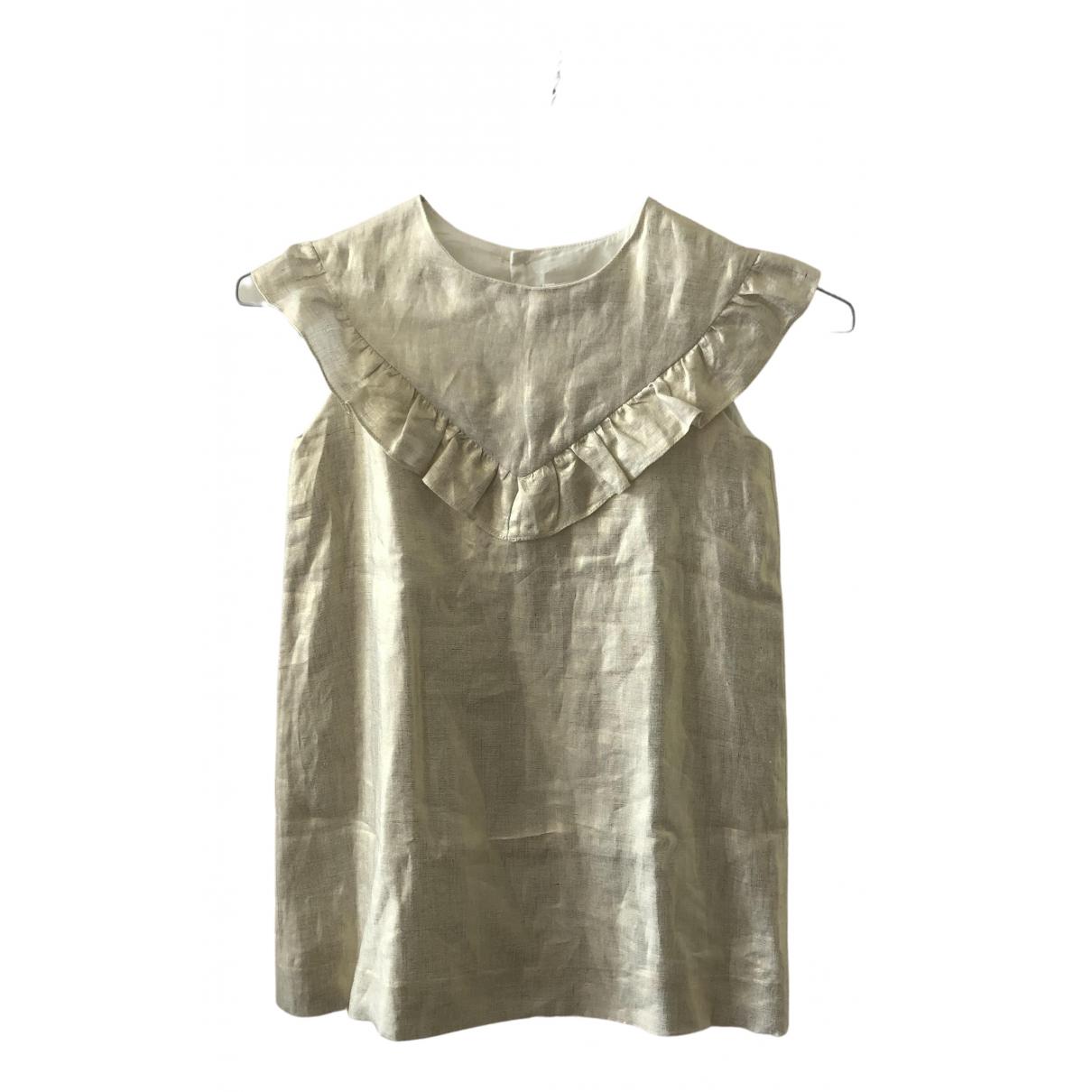 Bonpoint \N Kleid in  Gold Leinen