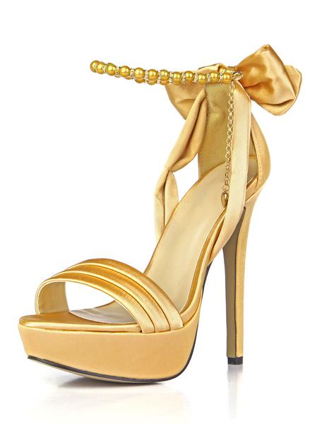 Milanoo Zapatos de novia de saten Zapatos de Fiesta de tacon de stiletto Zapatos azul  de puntera abierta 14cm Sandalias de Noche & Sandalias de Novia