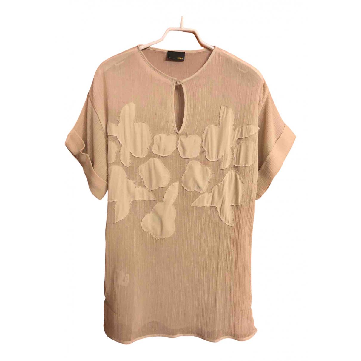 Fendi - Top   pour femme en soie - beige
