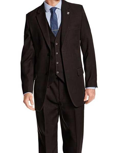 Men's 3 Piece Notch Lapel Heather Brown Single Breasted Vested Suit