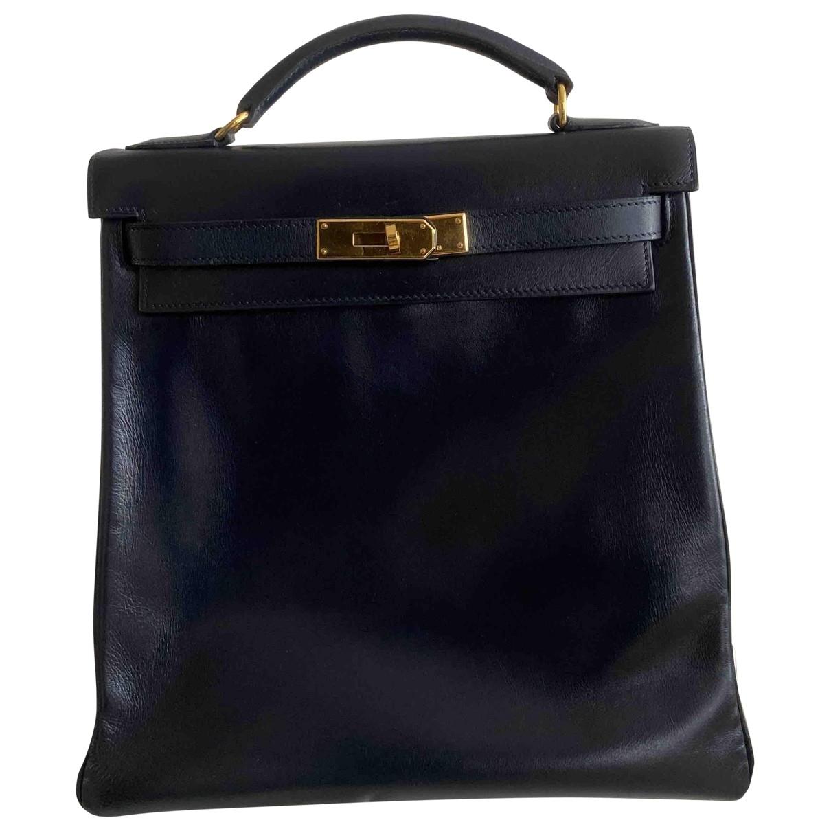 Hermes - Sac a dos Kellyado pour femme en cuir - bleu