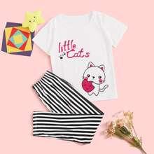 Maedchen T-Shirt mit Karikatur Grafik & Hose mit Streifen Schlafanzug Set