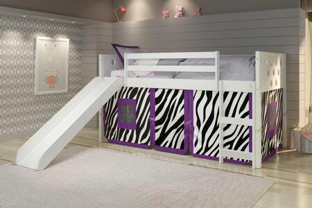 780A-TW_750C-TZ_785-W Twin Circles Low Loft Bed with Slide & Zebro Tent Kit In White