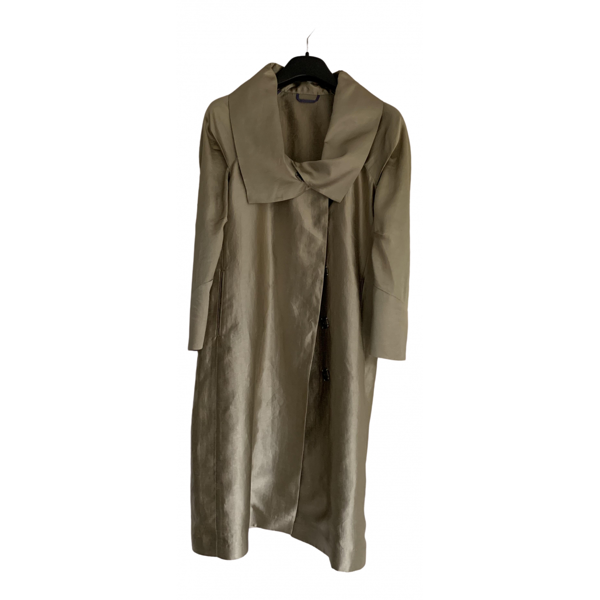 Etro \N Gold Silk Trench coat for Women 44 IT