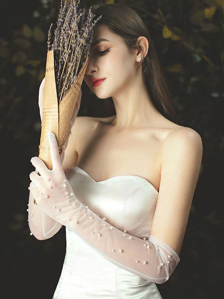 Milanoo Wedding Gloves Long Tulle Beaded Bridal Gloves