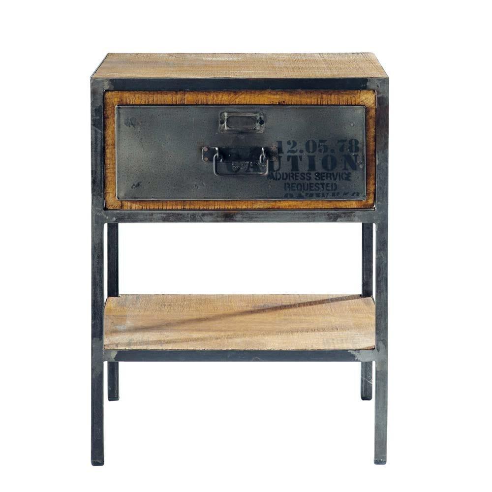 Nachttisch aus Metall mit Schublade, B 45cm, schwarz Manufacture