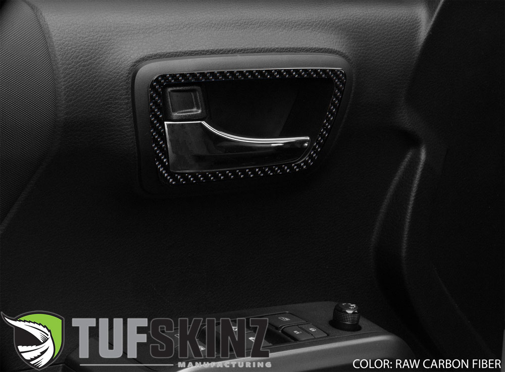 Tufskinz TAC044-RCF-X Access Cab Door Handle Surround Accent Trim Fits 16-up Toyota Tacoma 4 Piece Kit in Raw Real Carbon Fiber