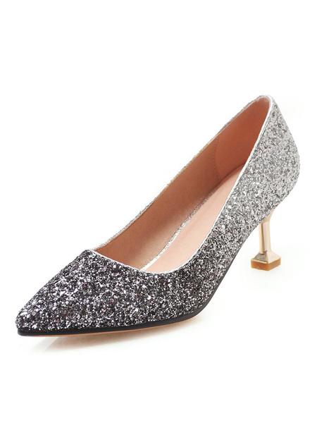 Milanoo Kitten Heel Pumps Blue Pointed Toe Slip On Shoes Women Party Shoes