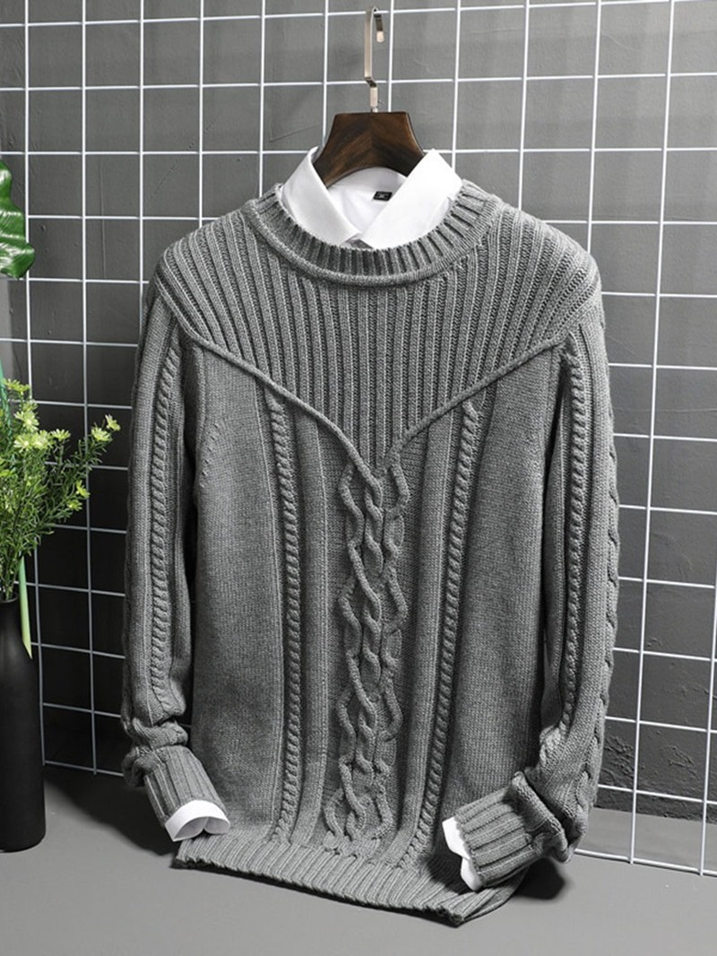 Ericdress Plain Round Neck Casual Straight Mens Sweater