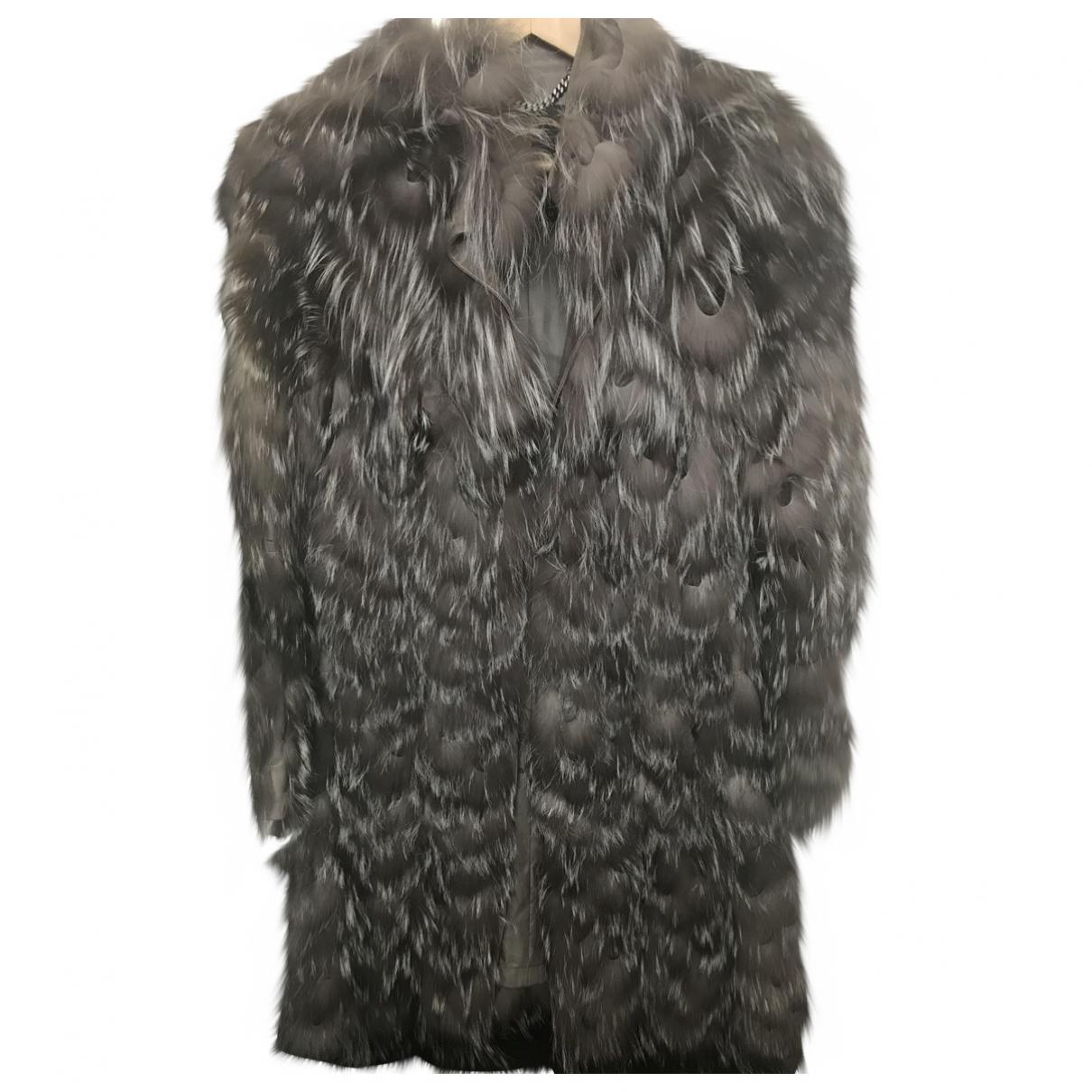 Burberry - Manteau   pour femme en renard - gris