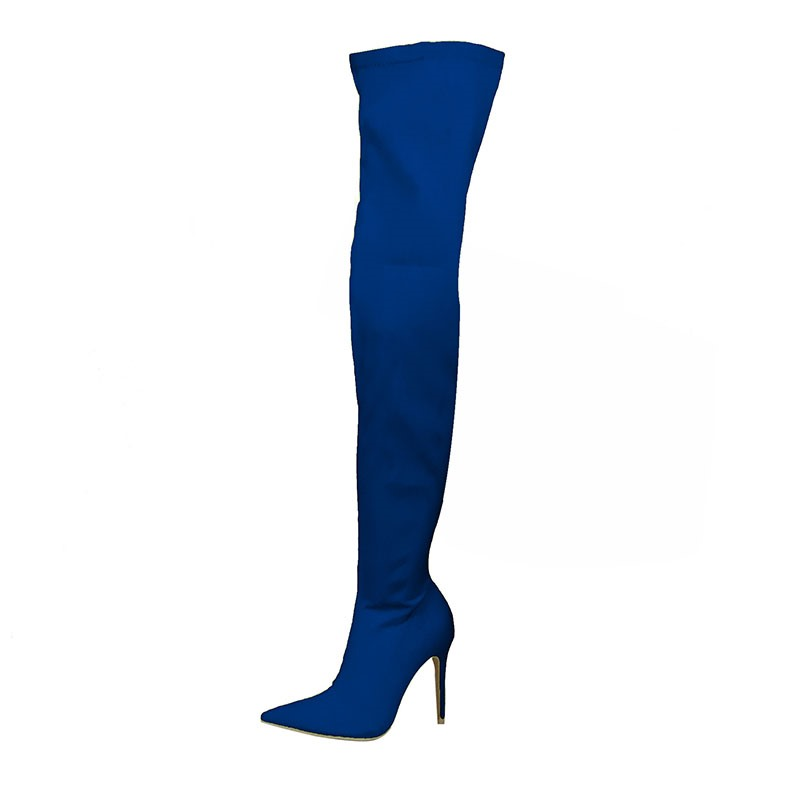Ericdress Side Zipper Pointed Toe Stiletto Heel Women's Thigh High Boots