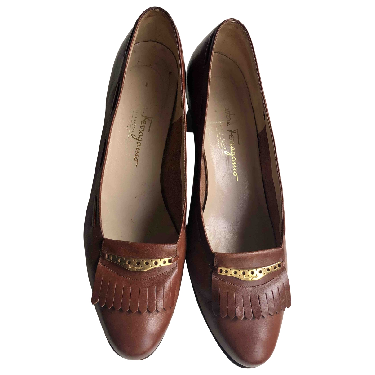 Salvatore Ferragamo \N Brown Leather Heels for Women 40 EU
