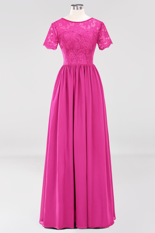 BMbridal Elegant Dark Navy Long Lace Bridesmaid Dresses with Short-Sleeves