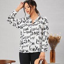 Bluse mit Buchstaben Grafik