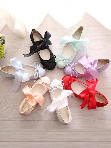 Milanoo Sweet Lolita Ballet Shoes Bow Strappy Tie Lolita Pumps