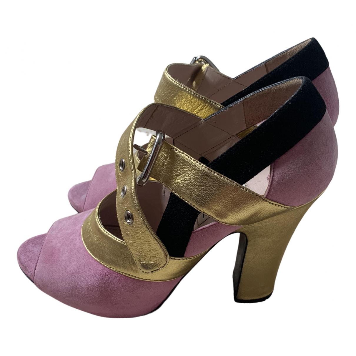 Miu Miu \N Pink Suede Sandals for Women 38 IT
