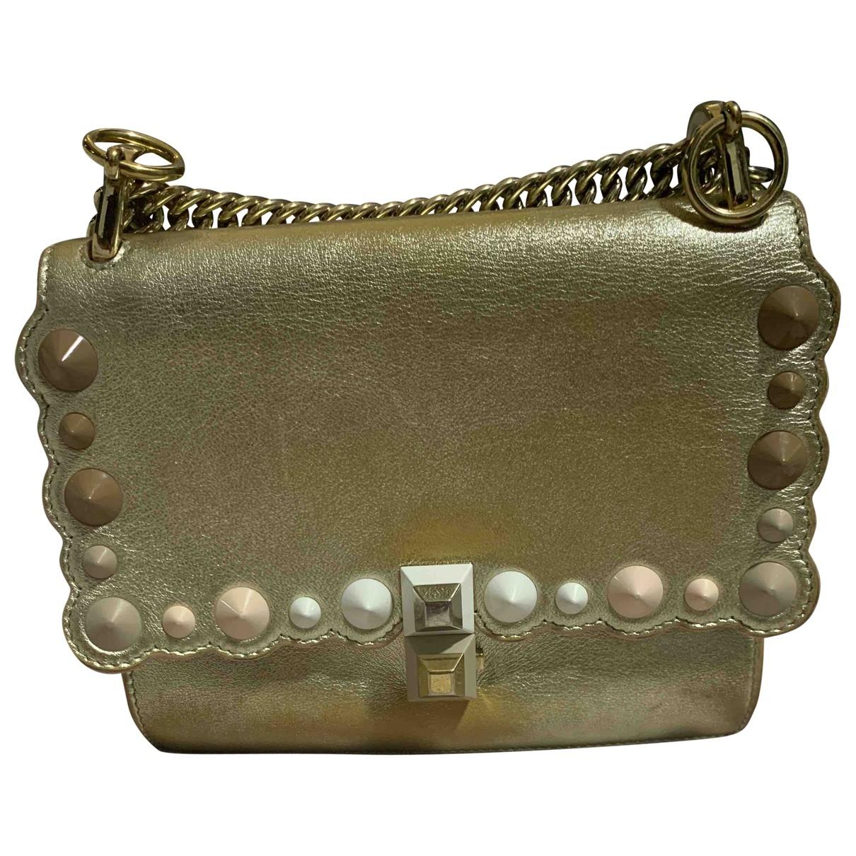 Fendi Kan I Handtasche in  Gold Leder