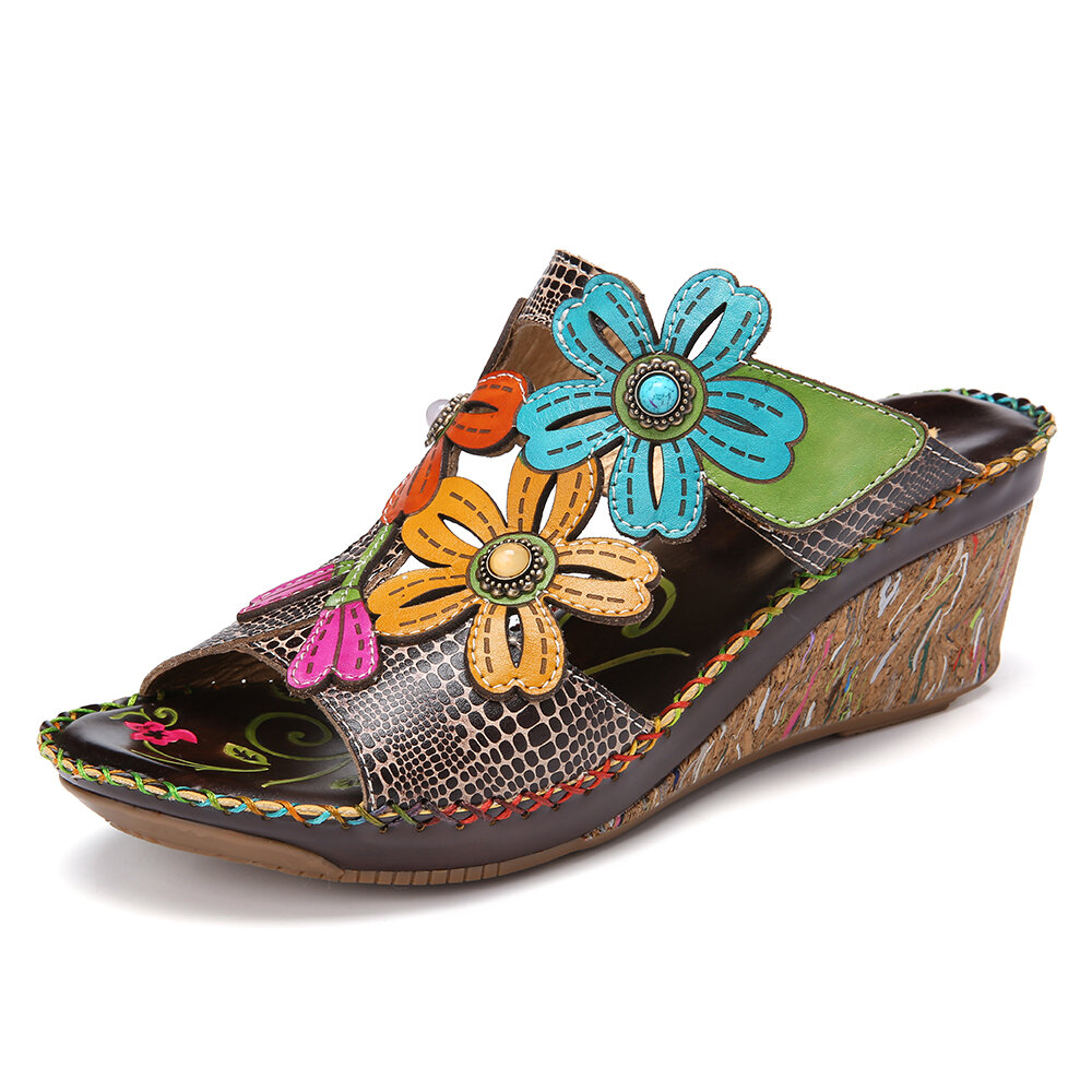 SOCOFY Retro Flower Decro Beading Cutout Colorful Stitching Adjustable Strap Slip On Open Toe Casual Wedge Sandals