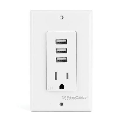 3.1A Smart Fast Charging 3 USB Ports, Decora Tamper Resistant Single Receptacle - PrimeCables®